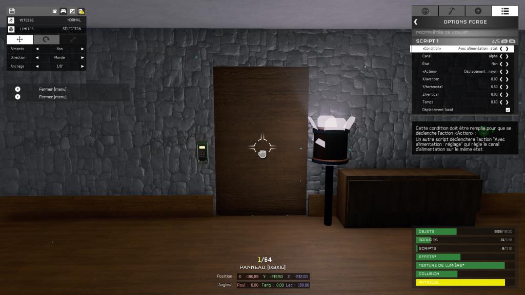 Script de déplacement de la porte